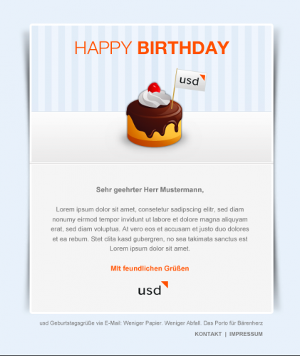 Design Concept For Email Birthday Card