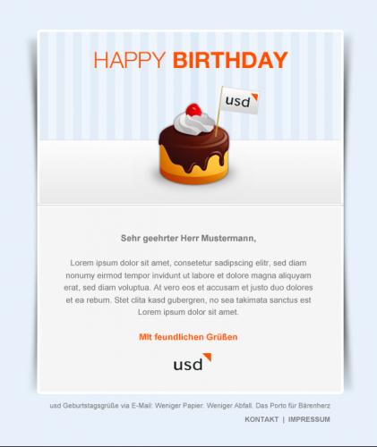 Design-Konzept für eine E-Mail-Geburtstagskarte