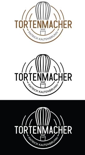 Logo-Design mit Torten- bzw. Hochzeitstortensymbol für Tortenmacher