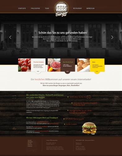 Website for a burger restaurant
