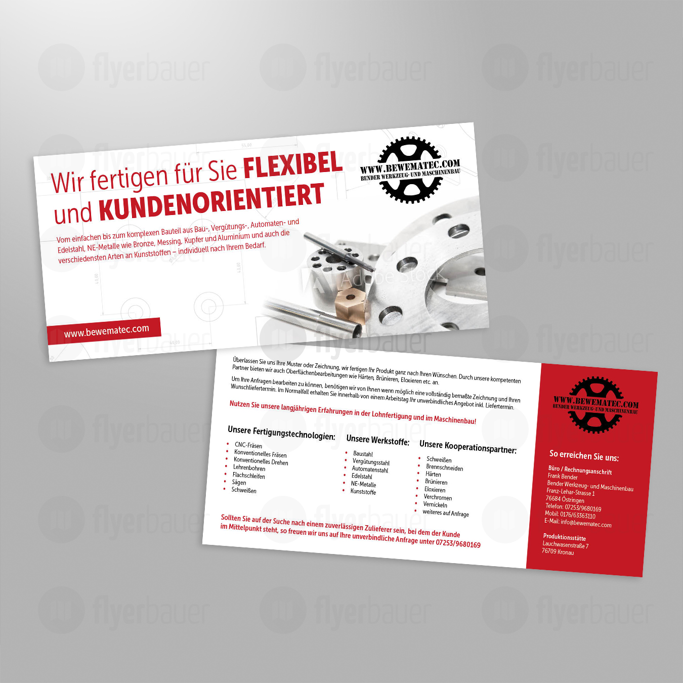Flyer design f r firma im bereich lohnfertigung flyer for Design firma