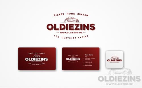Zinsen suchen Logo mit Oldtimer- Bezug