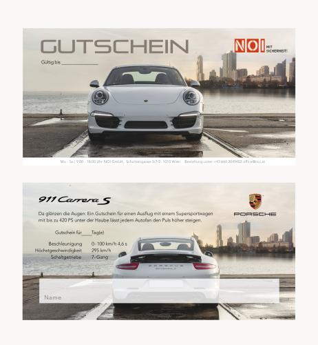 Gutschein-Design für Porsche-911-Verleih