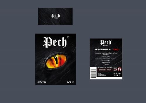 Etikettendesign für Lakritzlikör