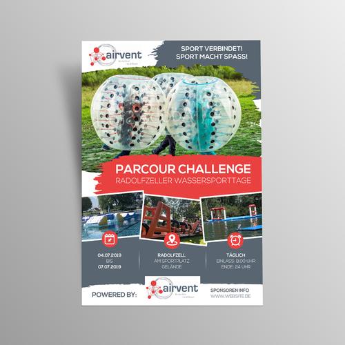 Flyer-Design für Veranstaltungen  von aufblasbaren Sport- und Funobjekten