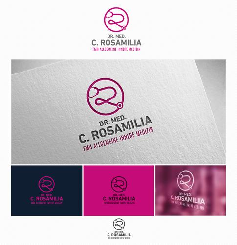 Logo-Design mit Symbol eines Stethoskops für Hausärztin