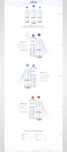 Schlichtes Website-Design für Mineralwasser