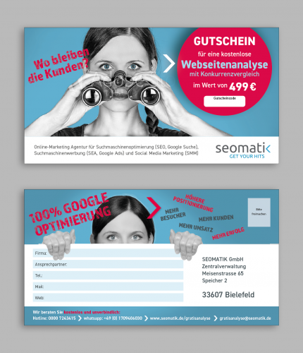 Online-Marketing Agentur SEOMATIK braucht ein Gutschein-Design