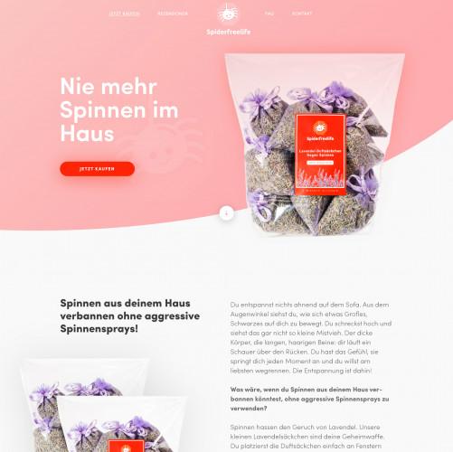 Rosa Webdesign für Lavendel-Duftsäckchen