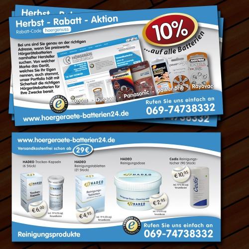 flyer layout für den webshop hoergeraete batter flyer design