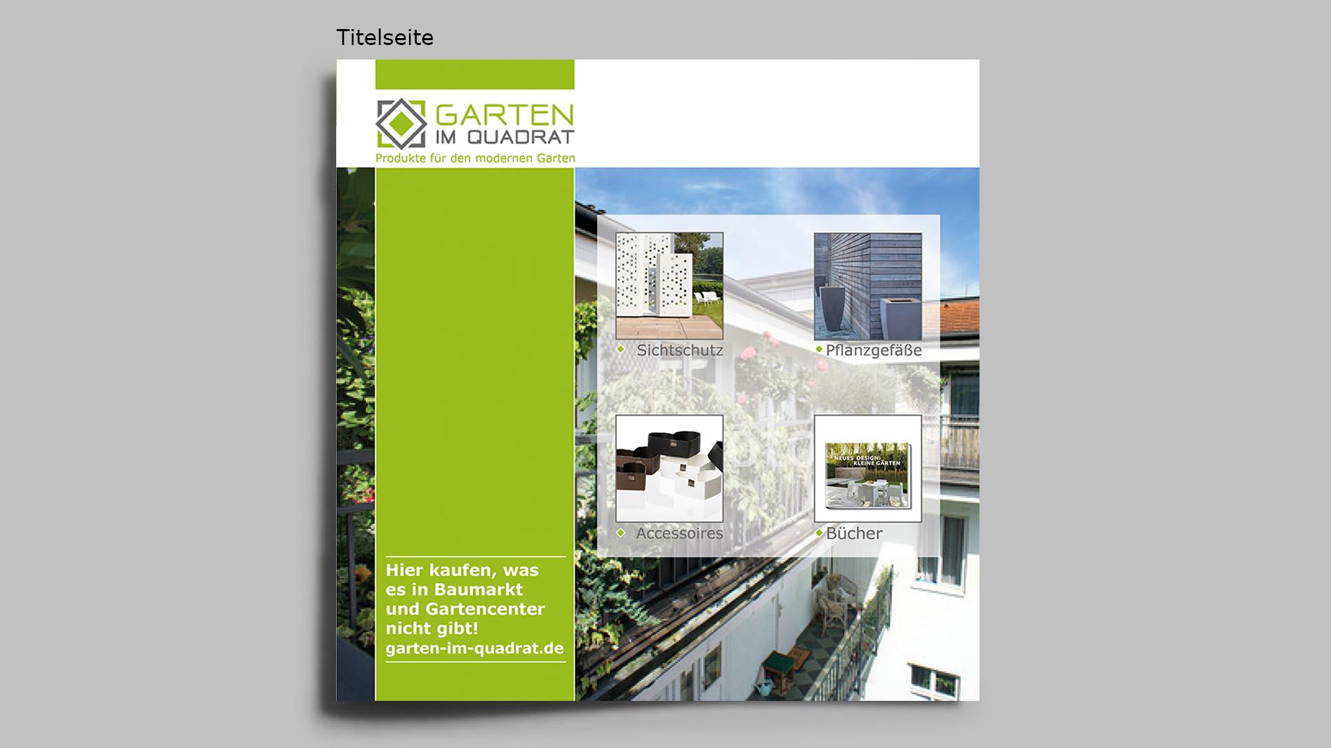 Flyer für Online-Shop mit modernen Gartenprodukten - puristisch und hochwertig