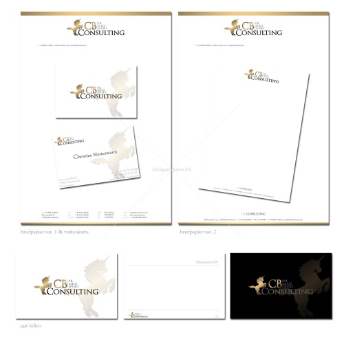 Briefpapier / Business Cards / Power Point Folien Layout für CB Consulting