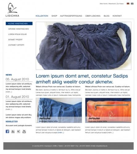 Website-Design für die neue Handtaschenmarke Lisichka