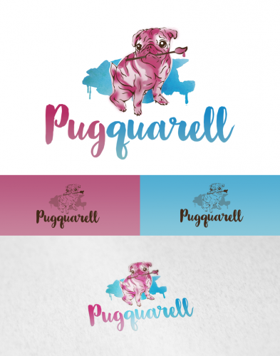 Logo for very colorful watercolor paintings of pugs and other dogs