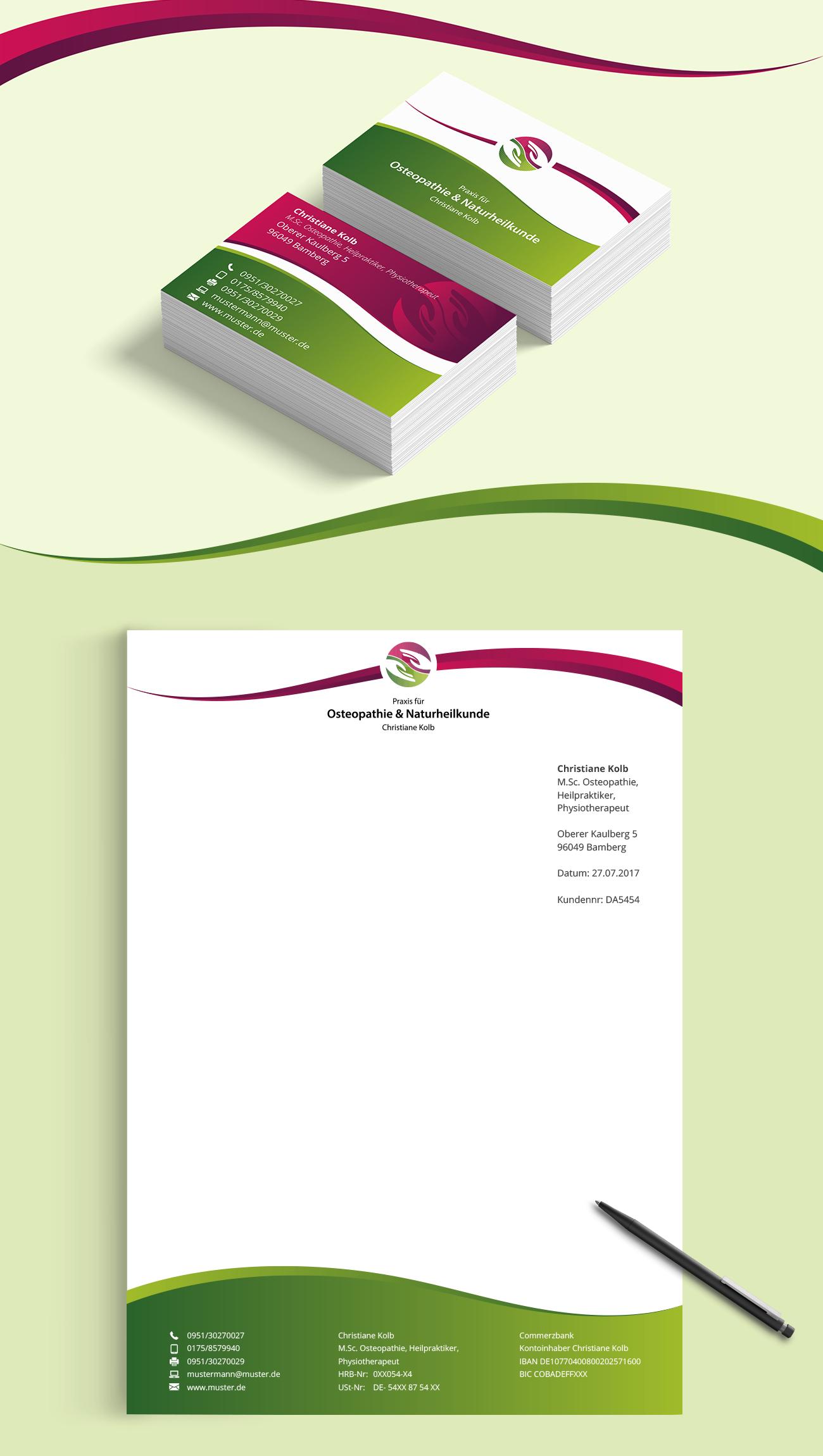 Visitenkarten Design Und Briefpapier Für Osteopa