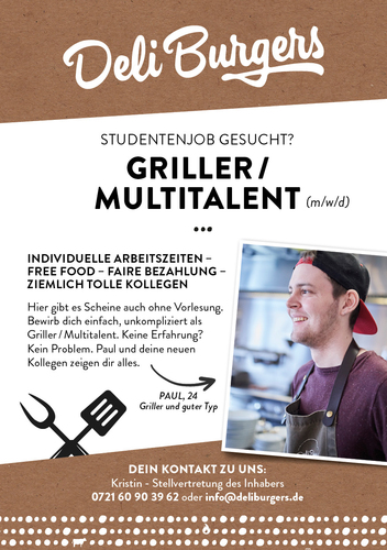 Anzeigengestaltung für einen Burgerladen in Karlsruhe