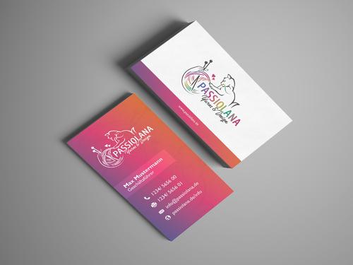 Visitenkarten-Design für Handel mit Handstrickgarnen