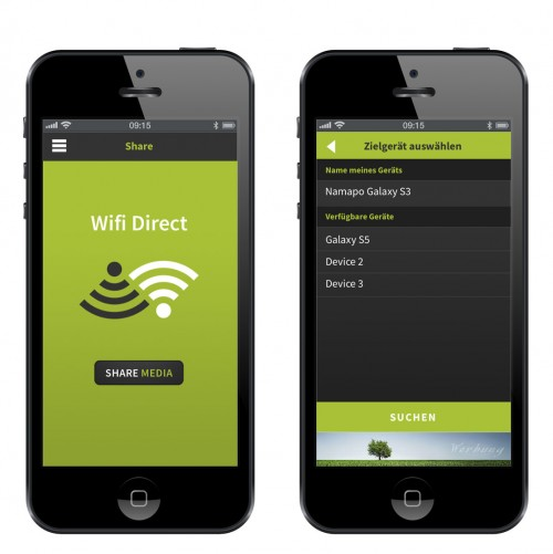 App-Design für Wifi Direct Datenübertragungs-App - Nomapo e.U.