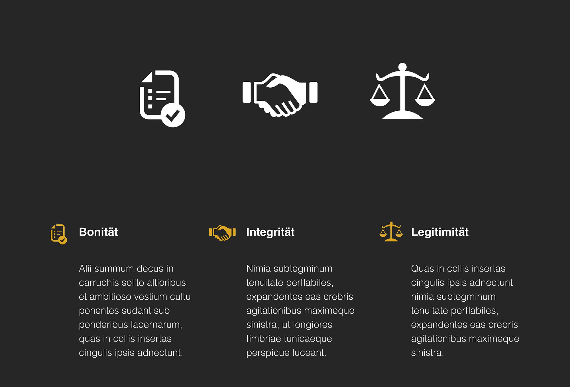 Icon Gestaltung für die Begriffe Bonität, Integrität und Legitimität
