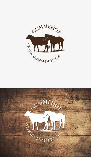 Logo-Design für Landwirtschaftsbetrieb mit Kuh- und Pferdepension