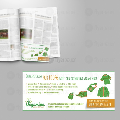 Printanzeige für einen Online-Shop für vegane, ökologische Mode