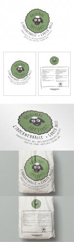 Design für Baumwollbeutel-Verpackung von ökologischen Trocknerbällen aus Schafwolle inkl. Logo