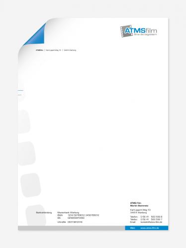 Design der Geschäftspapiere für Filmproduktion