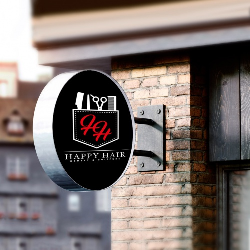 Happy hair logo business card design briefing designonclick com