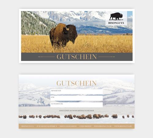 Gutschein-Design für Verkauf von hochwertigem Bisonfleisch