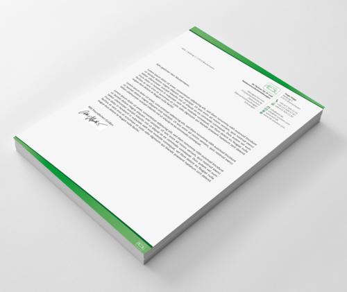 Modernisierter Briefkopf für Dienstleistungsunternehmen im Bereich IT-Sicherheitsberatung & Datenschutz