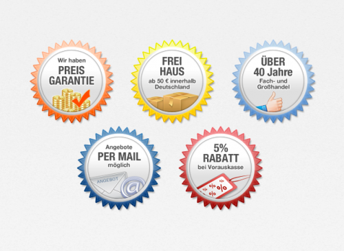 verschieden farbliche Siegel für Onlineshop