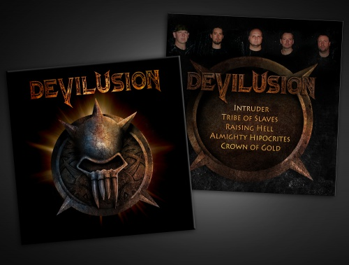 CD-Cover für Metalband Devilusion