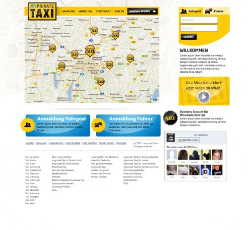 Design Startseite für Taxi App - Eilauftrag - Danke