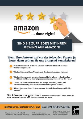 Flyer-Design für Unternehmen, das Maßnahmen bezüglich Verkäufe über Amazon anbietet