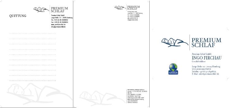 Briefpapier, Visitenkarte, Rechnung & Quittungsblock für hochwertiges Bettenstudio