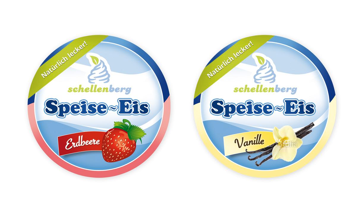Verpackungsetikett für Softeisbecher