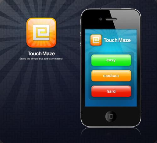 Maze iPhone app UI en het pictogram