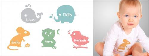 Tiermotive für Babykleidung