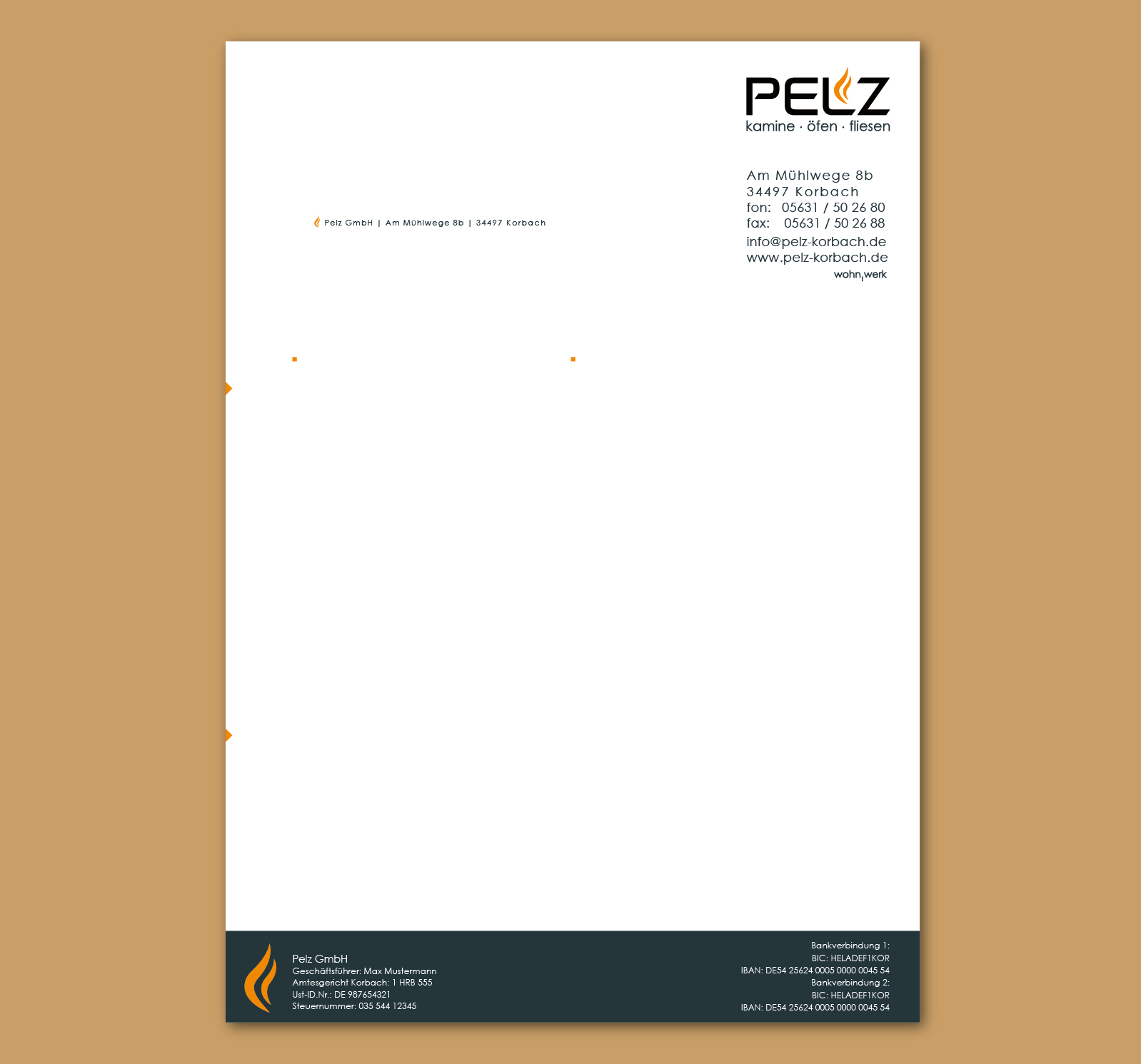Pelz Gmbh Korbach visitenkarten und briefpapier visitenkarten design briefing