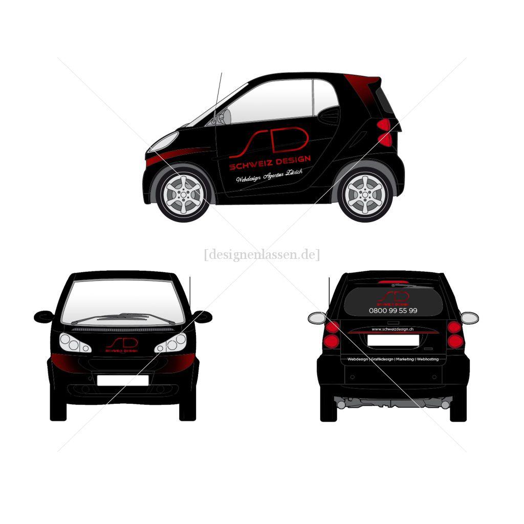 Autobeschriftung für Firmenauto Smart