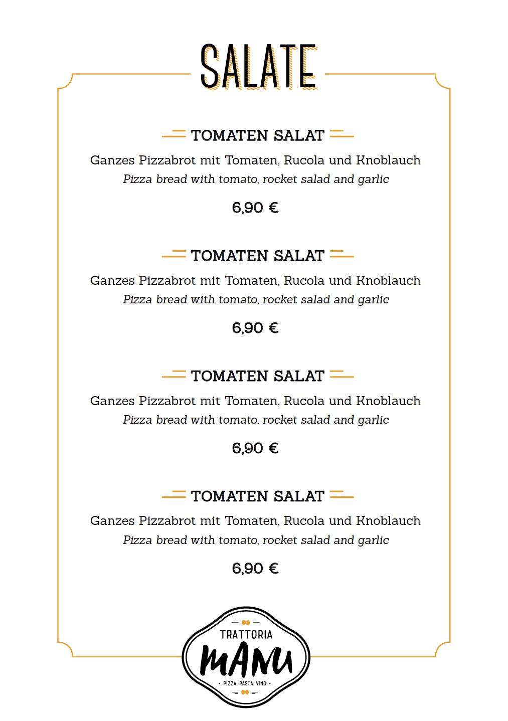 Speisekarten-Design für Trattoria