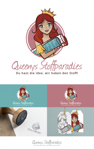 Logo-Design für Queenys Stoffparadies