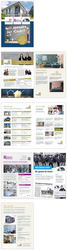 Broschüren-Design mit Werbeziel und Fokussierung auf Spendenaktion