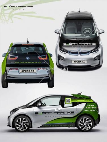 BMW i3 Autobeschriftung für Friseur Björn Franke Haardesign