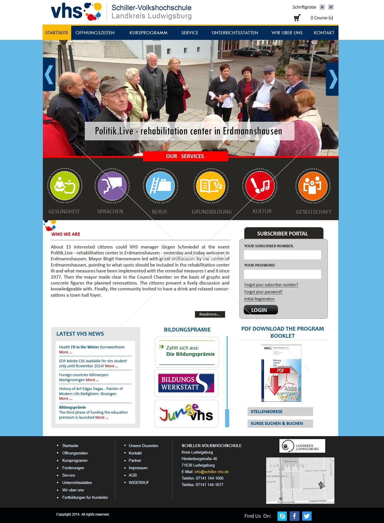 Schiller-Volkshochschule Kreis Ludwigsburg sucht neues Webdesign
