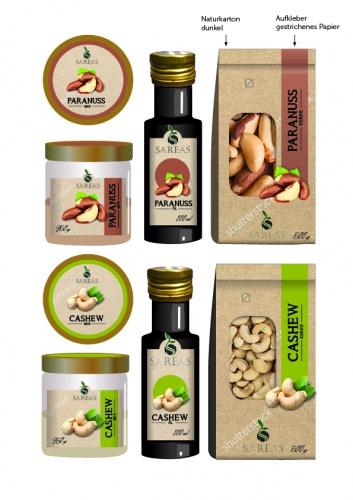 Verpackungskonzept für Nusskerne, Nussöl, Nussmus