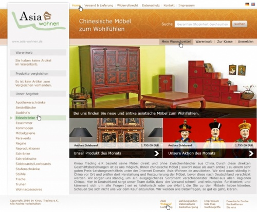 Layout Für Asia Möbel Webshop Webdesign Designen Lassench