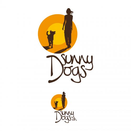 Hondentrainer met hart kijkt logo ontwerp