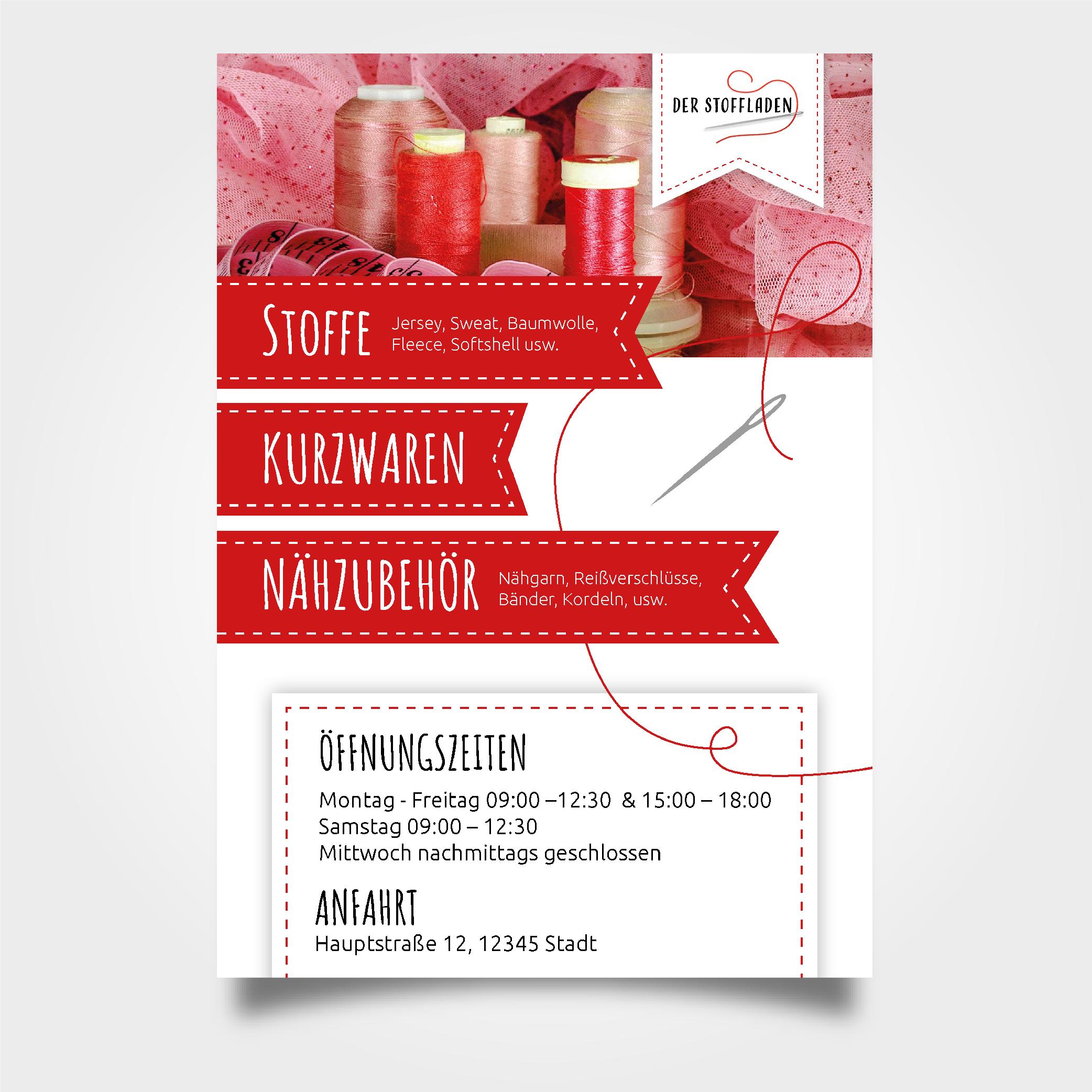 Fachgeschäft für Stoffe und Nähzubehör sucht Flyer-Design