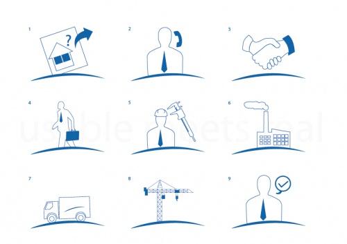 Iconset für Bestellablauf eines Fensterlieferanten/Produzenten